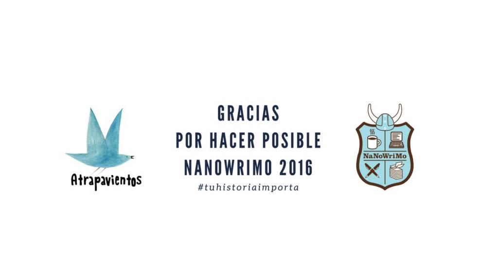 En 2016 participamos en las actividades vinculadas a Nanowrimo organizadas por Atrapavientos